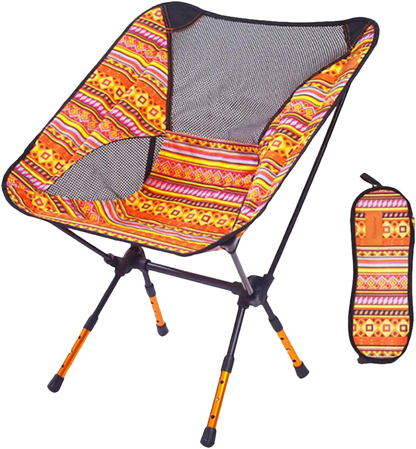 Prettyia UrltraLight Adjustable Height Folding Chair Camping BBQ Fishing Seat Beach Lounger with Storage Bag