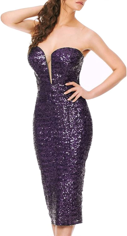 Emmani Women's Sweetheart Knee Length Sequined Bling Cocktail Dresses