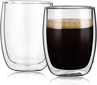 CNGLASS Double Wall Insulated Glass Coffee Mugs,Set of 2(8.5oz,250ML),Cappuccino Cups,Latte Cups,Tea Cups,Glass Espresso Cups