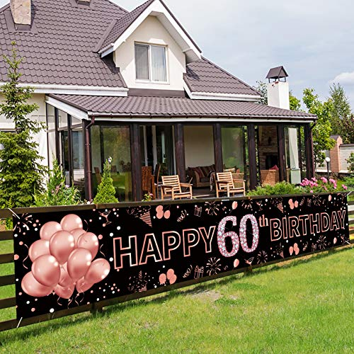 Pimvimcim Happy 60th Birthday Banner Decorations, Rose Gold Large 60 Birthday Party Sign Supplies, 60 Years Old Birthday Photo Booth Backdrop Decor for Women(9.8x1.6ft)