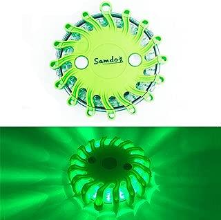 SAMDO Waterproof 9 Patterns Magnetic Beacon Lamp, Emergency Light, Roadside Warning Light CR123A (Green)