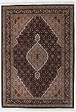 Nain Trading Indo Täbriz 202x140 Orientteppich Teppich Beige/Dunkelbraun Handgeknüpft Indien