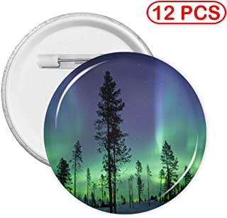 Round Badge Northern Lights Aurora Borealis Button Badge Tinplate Design Plastic Pin Button Badge Kit for Bag Hats Clothes Fashion Chest Pins Brooch (12,20) PCS