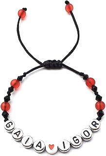 Braccialetto personalizzato con lettera dell'alfabeto; gioielli con nome, messaggio, logo, iniziale (reversibile) GAIA IGO...