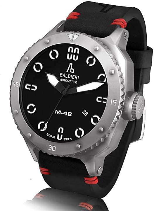 Orologio uomo alessandro baldieri magnum m-48 automatico acciaio nero pelle zaffiro AB0061-SSBKD