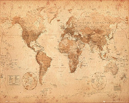 World Map Antique Style Art Print Poster 20x16 inch