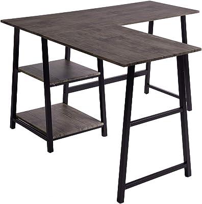 MEUBLE COSY Bureau d'Angle avec 2 étagères Table Informatique en Forme de L. Bureau à Domicile