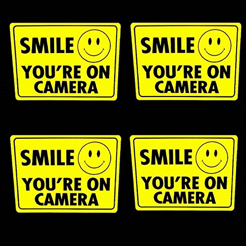 """4 Smile Security Camera Window Stickers - Surveillance Home Video 3x4"""""""