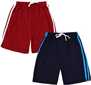 ALOFT Kids Unisex Multicolor Stripped Cotton Shorts for Boys and Girls - Pack of 2
