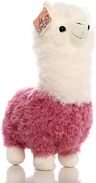 Stuffed Grass Mud Horse Llama Alpaca Sheep Fleece Cute Soft Alpaca Zoo Animals Plush Grass Mud Horse Toys Doll For Nursery Home Decoration For Boys Girls Pink 11 8 Inches
