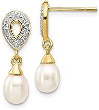 ICE CARATS 14k Yellow Gold 7x5mm White Teardrop Freshwater Cultured Pearl .01ct Diamond Drop Dangle Chandelier Post Stud Earrings Fine Jewelry Gifts For Women