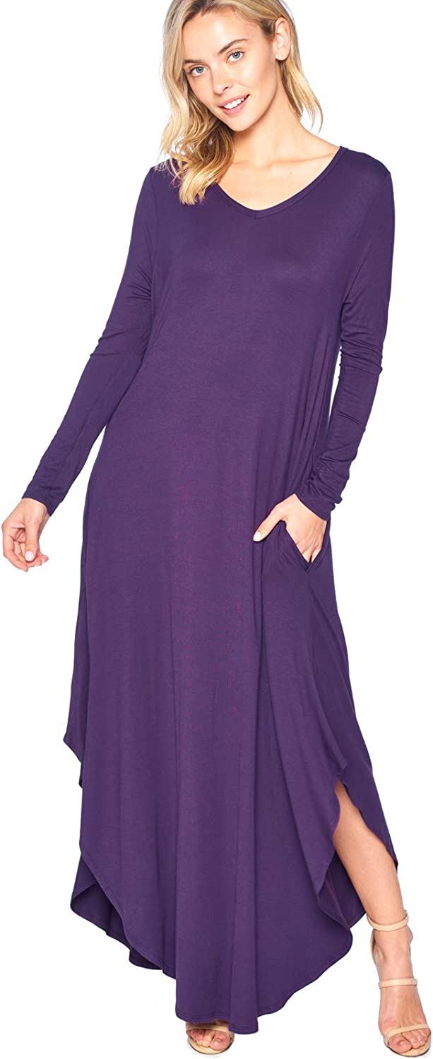 12 Ami Curved Hem VNeck Long Sleeve Maxi Dress (SXXXL)  Made in USA