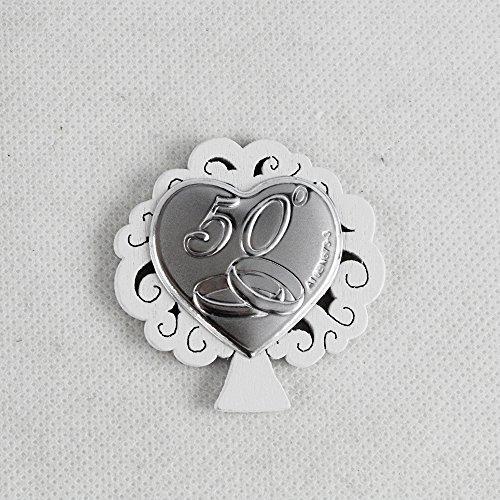 DLM26792 (kit 12 pezzi) Calamita Magnete Albero della Vita in Legno e Cuore per 50° Anniversario di Nozze bomboniera