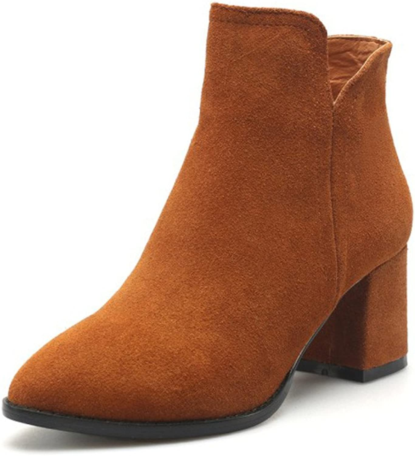 VOCOSI CB-18 Women's Round Pointy-toe Block Heels shoes Usual Dress Booties Ankle Boot