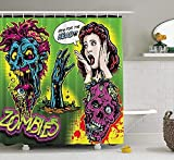Comic Halloween Scream Horror Retro Skeleton Fabric Baño Cortina de ducha-90x180cm