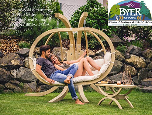 "BYER OF MAINE Globo Royal Double Chair, Treated Spruce Wood, Weatherproof, Waterproof, Agora Outdoor Fabric Cushion, Two Person, 70"" W x 48"