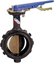 NIBCO WD-2000-3 Series Ductile Iron Butterfly Valve with EPDM Liner and Aluminum Bronze Disc, Lever-Lock Handle, Wafer, 6