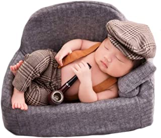 Baby Photography Props Newborn Boy Photo Shoot Outfits Infant Gentleman Suit Lattice Rompers Hats