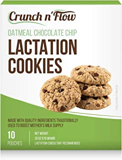 Crunch N Flow Lactation Chocolate Chip Oatmeal Cookies (10 packs) All Natural Milk Boosting Ingredients! Oats, Flaxseed me...
