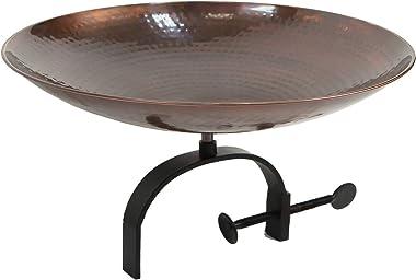 Achla Designs BCB-01-OR Burnt Bracket Railing Birdbath, Copper, Black