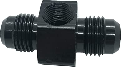8AN Male Flare Coupling Hose Union with 1/8 NPT Port Pipe Tee Fuel Line Take off Pipe Fitting Adapters Aluminum Black