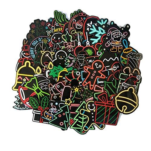 50Pcs/pack Christmas Neon Series Stickers Santa Claus Doodle Sticker For Laptop Mouse Motorcycle Skateboard Luggage Guitar F4