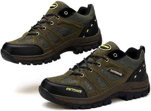 FGSJEJ Chaussures de randonnée en Plein air pour Hommes Chaussures de randonnée en Cuir imperméable Chaussures de Sport Taille Basse Confortable et léger (Couleur   vert, Taille   38)