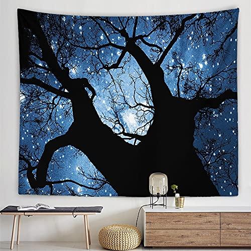 KHKJ Estrellas Luna Cielo Nocturno Tapiz cabecera Pared Arte Colcha Dormitorio Tapiz para Sala de Estar Dormitorio decoración del hogar A14 95x73cm