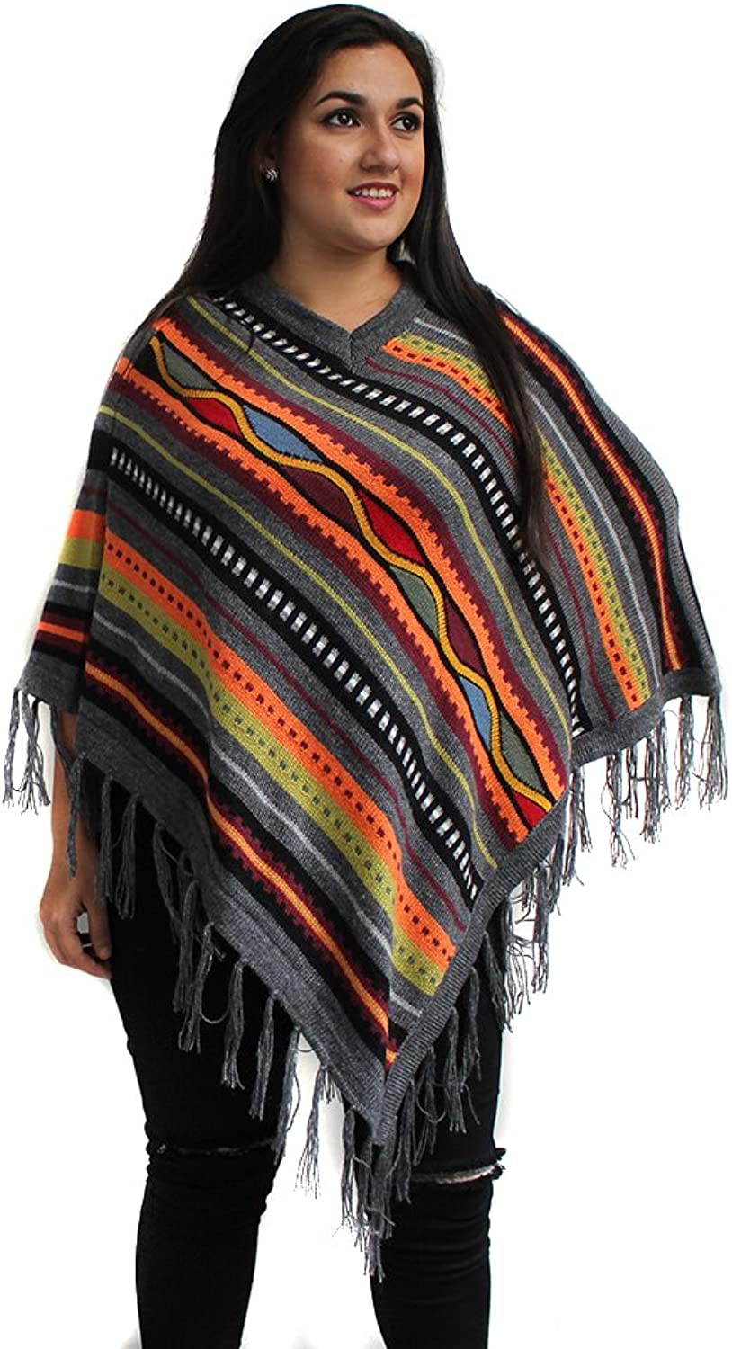 CELITAS DESIGN Poncho Cape Stripes V Neck Baby Alpaca Made in Peru