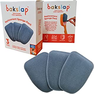 Bakslap Lotion Applicator Replacement Sponge Pads (3 Pack) - for back self application - for Skin Cream, Suntan, Tanning, ...