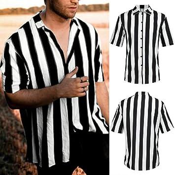 Wawer - Camiseta de Rayas Negras y Blancas para Hombre, de ...