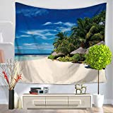 Island Beach Tapestry Ocean Palm Tree Holiday Wall Hanging Decoración del hogar para el Dormitorio Sala de Estar Yoga Picnic Mat