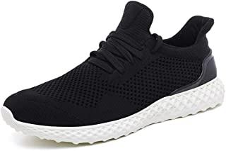 XUJW-Shoes, Athletic Shoes for Men Breathable Mesh Upper Outdoor Activities Running Sneakers Knit Lightweight Comfortable Soft Anti Slip Flat Lace Up Round Toe (Color : Black, Size : 7.5 UK)
