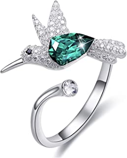 MXIN Hummingbird S925 Sterling Silver Women Rings Embellished with Crystals from Swarovski Open Expandable Design Fit Size...