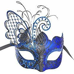 Blue Rhinestones Masquerade Face Mask