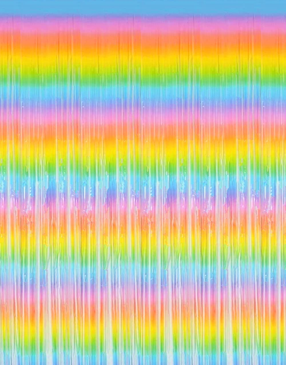 Shiny Rainbow Foil Fringe Curtains 2 Pack 3.2x 8.2 feet Metallic Tinsel Rainbow Streamers for Photo Booth Backdrop Birthday Wedding Holiday Celebration Bachelorette Party Streamers Decorations
