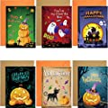 12 Halloween Greeting Cards with Envelopes and Stickers 5 x 7 Note Cards