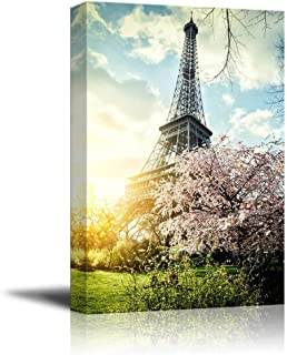 Canvas Prints Wall Art - Springtime in Paris with Eiffel Tower Retro Style | Modern Wall Decor/Home Decoration Stretched G...
