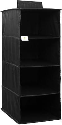 HomeStrap Premium Polyester Hanging 4 Compartments/Shelves Wardobe Organiser (Black)