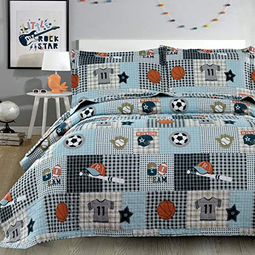Junsey Boys Sports Theme Bedspread Coverlet Set Full/Queen Size Lightweight Patchwork Quilts,3Pcs Football Rugby Basketball Baseball Soccer Ball Printed Bedding Reversible Quilt Sets Pillow Shams
