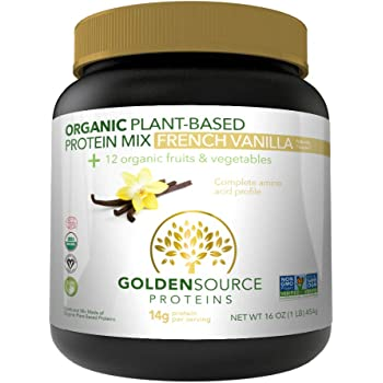 GoldenSource Proteins Organic Plant-Based Protein, French Vanilla, 1 Pound