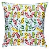 pingshang Moderne KissenbezügeStylisierte Hausschuhe mit Hibiskusblüten, Palmenblättern und TupfenmusterHome Decor Kissenbezüge 18 & mal 18 Zoll