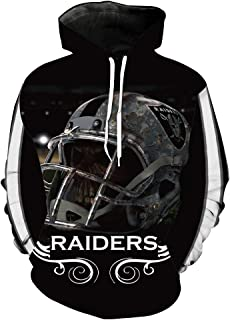 Men's Long Sleeve Hooded 3D Print Oakland Raiders Football Team Pullover Hoodies