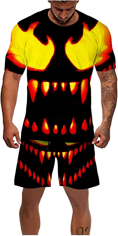 JSPOYOU Men's 2 Piece Tracksuit Halloween Pumpkin Bat 3D Print Suit Short Sleeve Shirt and Shorts Jogging Sport Suit Set