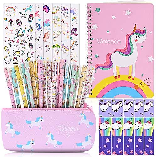 Faburo Cancelleria per Unicorno, 20pz Penne per Unicorno Simpatico Regalo, 1pz Notebook per Materiale Scolastico, 6pz Adesiva Regalo Compleanno Bambini Ragazze
