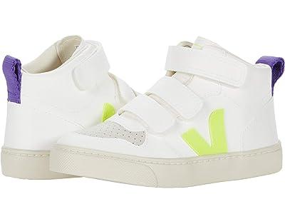 VEJA Kids V-10 Mid (Little Kid/Big Kid) (White Jaune/Fluo Purple) Kids Shoes