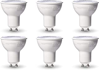 AmazonBasics 50W Equivalent, Warm White, Dimmable, 10,000 Hour Lifetime, MR16 (GU10 Base) LED Light Bulb | 6-Pack