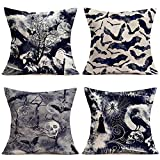 """Asminifor 4Pack Happy Halloween Dark Grey Scary Halloween Night Pillow Covers Vintage Crow Bat Skull Skeleton Witch Castle Spider Web Throw Pillow Case Cushion Cover for Sofa Bed 18""""x18"""" (HN-Crow)"""