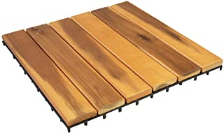 Villa Acacia Wood Tiles, Outdoor Patio and Deck Interlocking Pavers - 12 x 12 Inch (Pack of 10) (6 Slat)