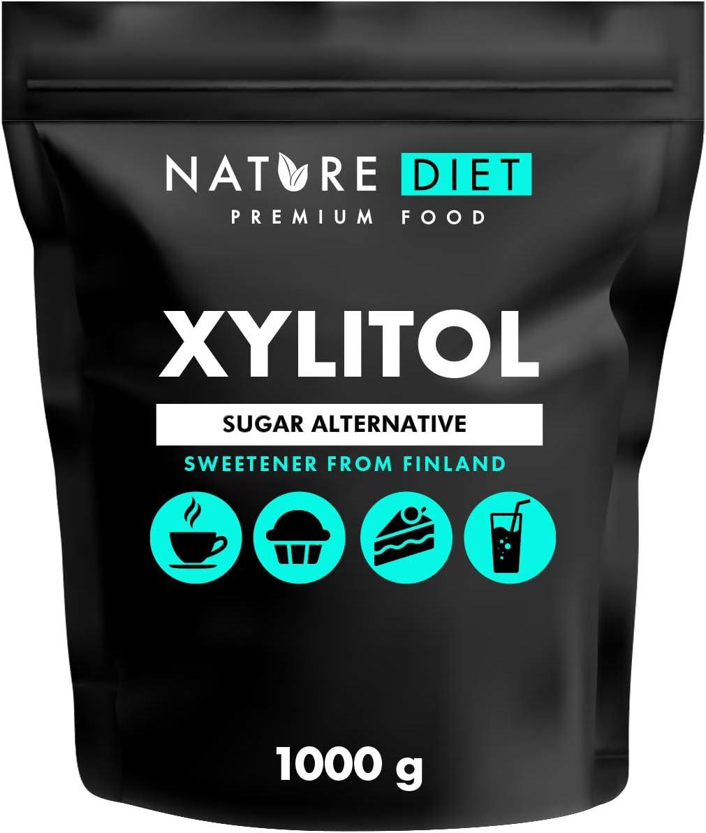 Nature Diet - Azúcar xilitol 1kg | Xilitol de Finlandia 1000g | Azúcar de abedul 100%